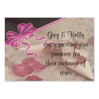 Wedding Shoes Rose Petals Set 13 Cm X 18 Cm Invitation Card