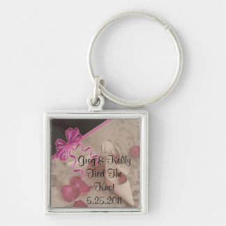 Wedding Shoes Rose Petals Set Silver-Colored Square Key Ring