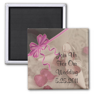 Wedding Shoes Rose Petals Set Square Magnet