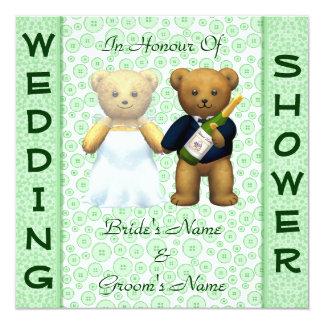 Wedding shower Apple Green Teddy Bears invite