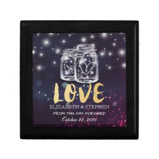 Wedding Shower Chic Mason Jar Purple String Lights Gift Box