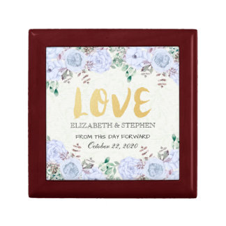 Wedding Shower Chic Watercolor Floral Gold Script Gift Box