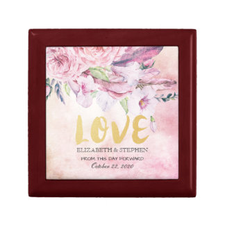 Wedding Shower Elegant Watercolor Floral Feathers Gift Box