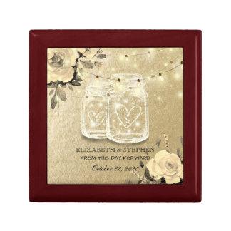 Wedding Shower Floral Mason Jar String Lights Gold Gift Box