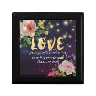 Wedding Shower Floral Purple Sparkle String Lights Gift Box