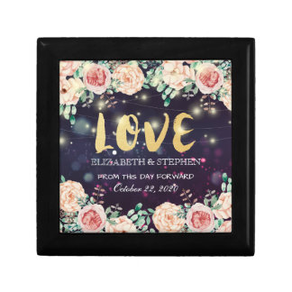 Wedding Shower Modern Floral Purple Sparkle Lights Gift Box