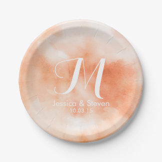 Wedding shower name initial watercolor ikat ombre 7 inch paper plate