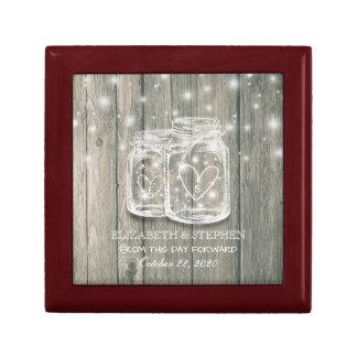Wedding Shower Rustic Wood Mason Jar String Lights Gift Box