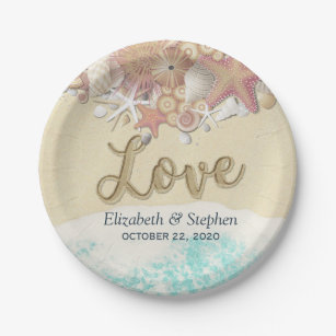 Wedding Shower Summer Sea Beach Starfish Sea shell Paper Plate & Starfish Plates | Zazzle.com.au