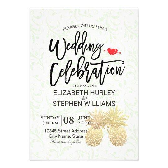 Wedding Shower Vintage Gold Foil Pineapple Couple Card