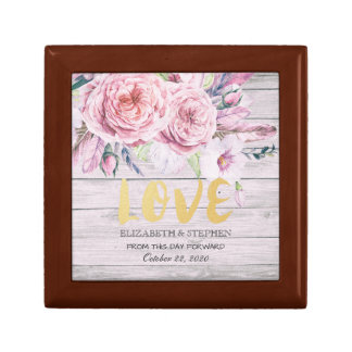 Wedding Shower Watercolor Boho Floral Rustic Wood Gift Box