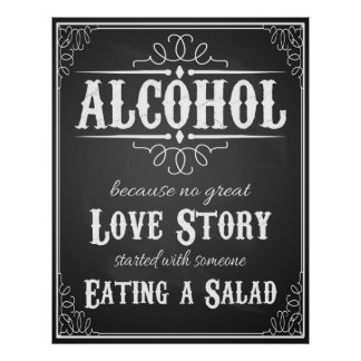 Wedding sign Alcohol BLACKBOARD-CHALKBOARD Poster