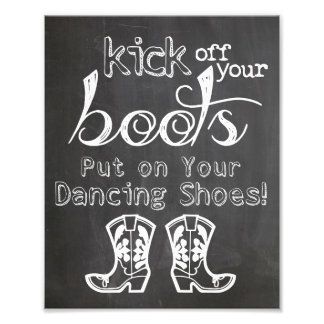 Wedding sign Chalkboard style funny boots sign Photo Print