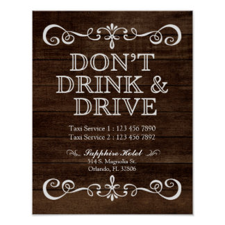 Wedding Sign – Don't' Drink & Drive Rustic Wedding