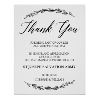 Wedding Sign – Donation Laurel Wedding Sign