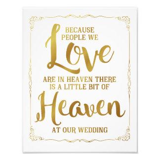 wedding sign, heaven at wedding, gold photo print