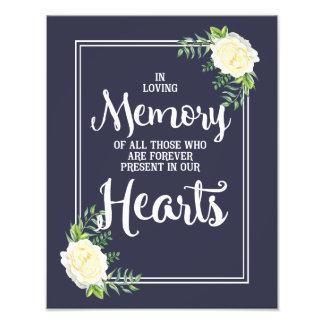 wedding sign, loving memory wedding, floral rose art photo