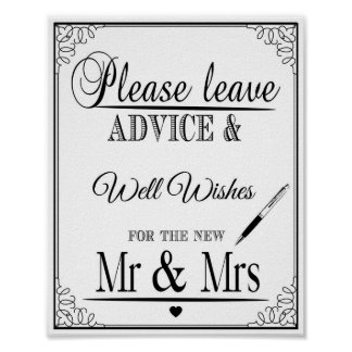 Wedding sign Please leave advice & well wishes