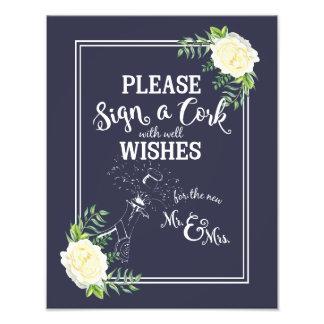 wedding sign, please sign a cork, floral rose photo art