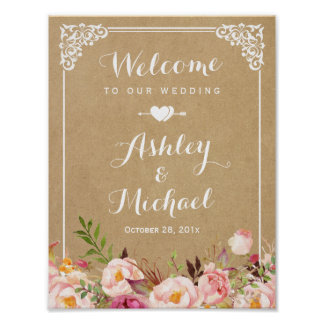 Wedding Sign | Rustic Floral Vintage Frame Kraft Poster
