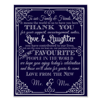 Wedding sign thank you from new Mr & Mrs