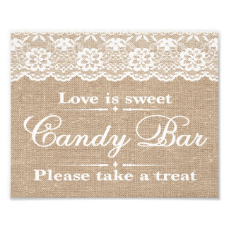Wedding Signs - Burlap & Lace - Candy Bar -
