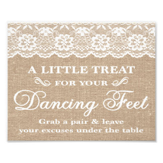 Wedding Signs - Burlap & Lace - Dancing Feet -