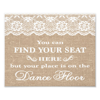 Wedding Signs - Burlap & Lace - Find Your Seat -
