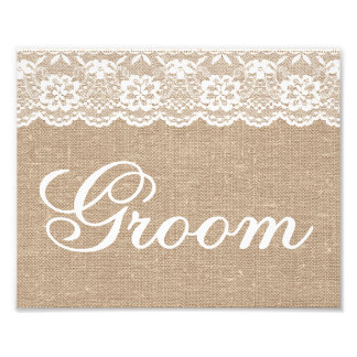 Wedding Signs - Burlap & Lace - Groom - Photo Print