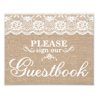 Wedding Signs - Burlap & Lace - Guestbook -