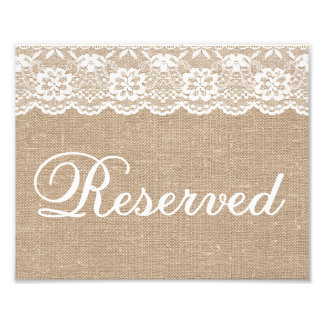 Wedding Signs - Burlap & Lace - Reserved - Photo Print