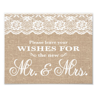 Wedding Signs - Burlap & Lace - Wishes - Photo Print