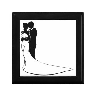 Wedding Silhouette Bride and Groom Small Square Gift Box