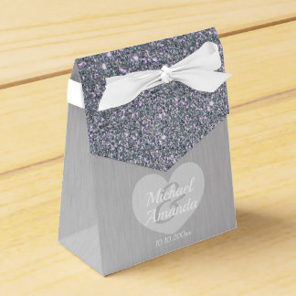 Wedding Silver Glitter Personalized Favour Box