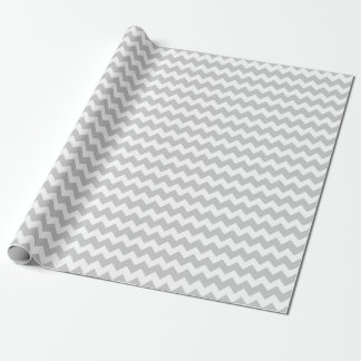 Wedding Silver Gray White Zigzag Chevron Stripes Wrapping Paper