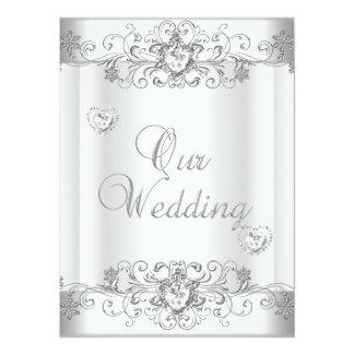 Wedding Silver White Diamond Hearts Invitations