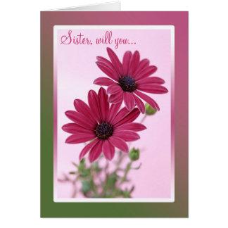 Wedding. Sister. Bridesmaid Card. Daisy flowers. Card