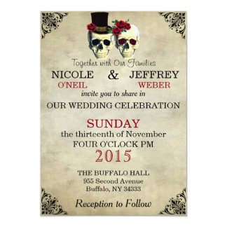 Wedding Skeleton Skulls Invitation