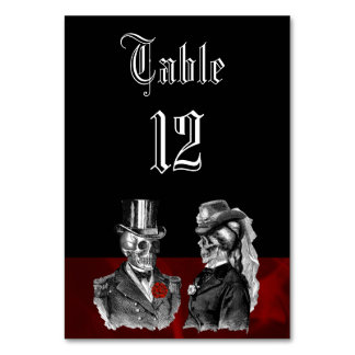 Wedding Skeleton Skulls Table Card