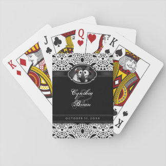 Wedding Skeletons Black & White Lace Names Playing Cards