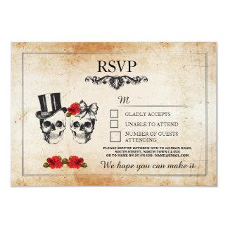 Wedding Skulls RSVP Skull Roses Rustic Cards