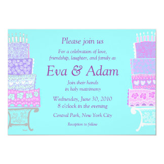 Wedding Soft Pastel Cake Invitation