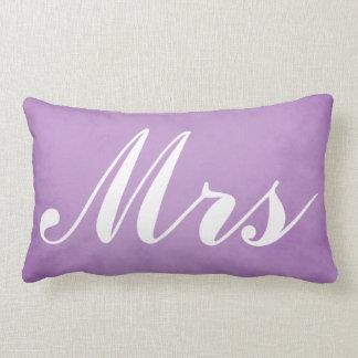 Wedding Souvenir Mr and Mrs Purple Parchment Lumbar Cushion