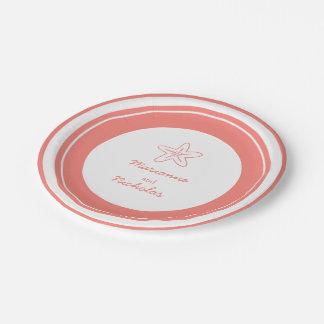 Wedding starfish orange white custom paper plate