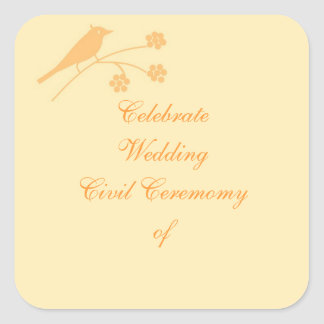 Wedding Stationary and Civil Ceremony customize Square Sticker