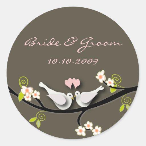 Wedding Sticker love doves + blossoms branch