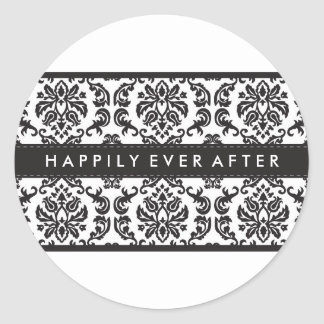 WEDDING :: STICKER SEAL :: damask black