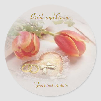 Wedding Sticker with tulips, rings and heart.