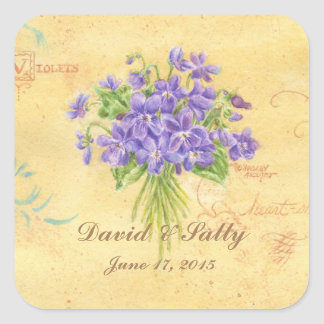 Wedding Stickers Custom Violets Bouquet