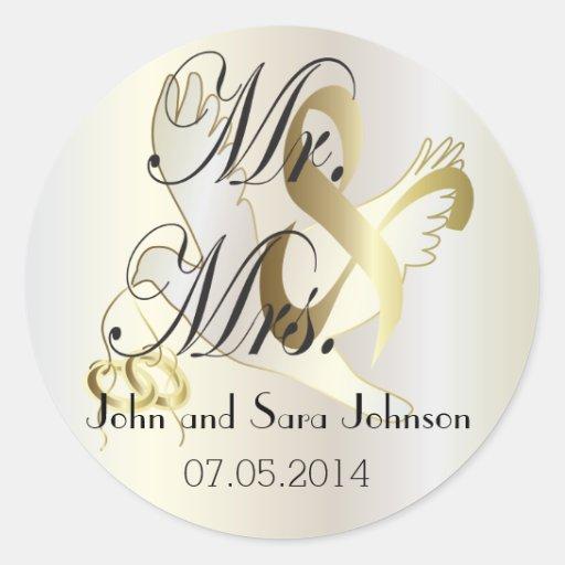 Wedding Stickers Personalized Mr & Mrs